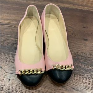 J Crew |  Pink, Black, and Gold Ballet Flats 💗🖤